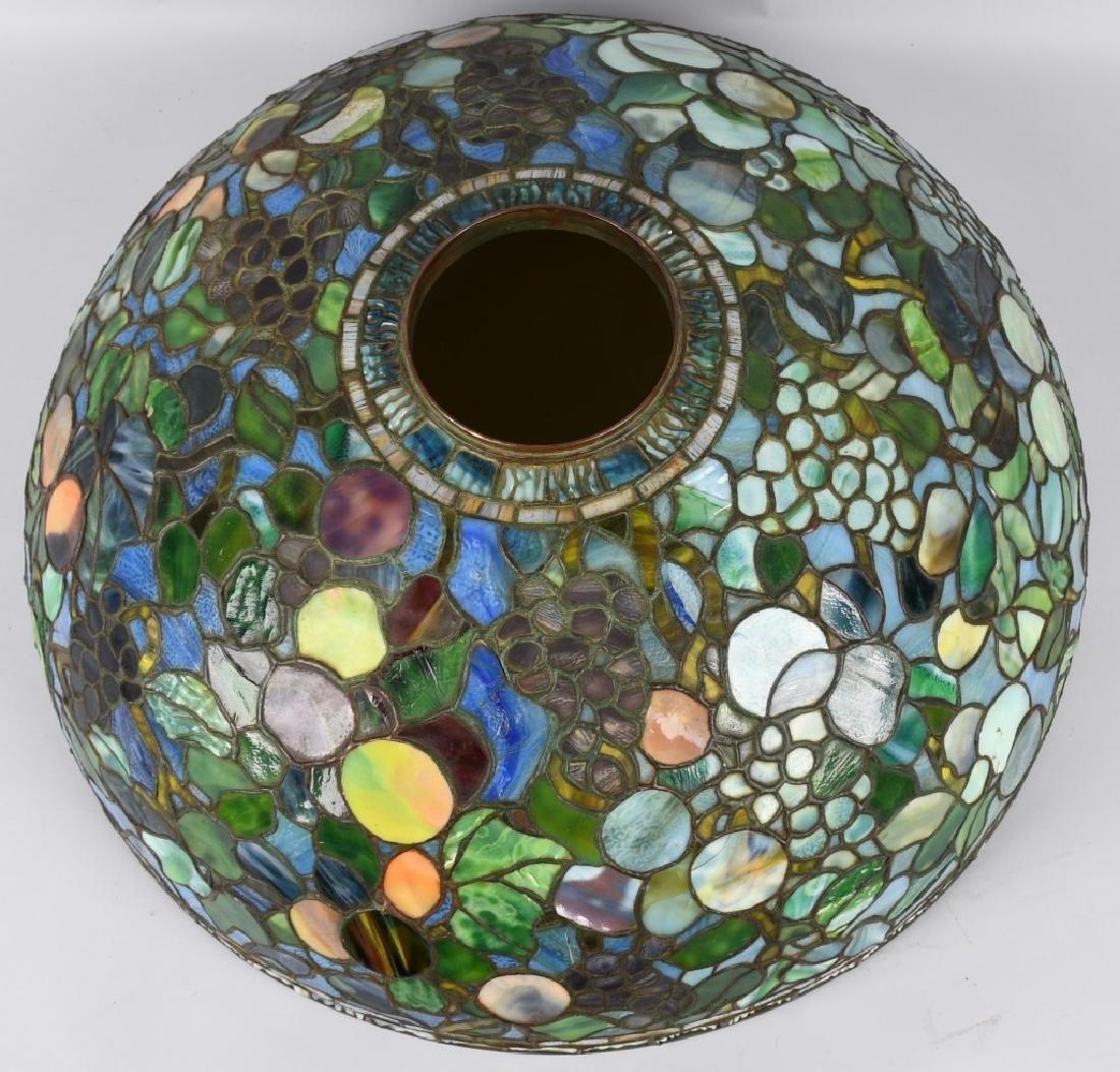 "24"" TIFFANY STUDIOS ""FRUIT"" LEADED GLASS LAMP - 7"