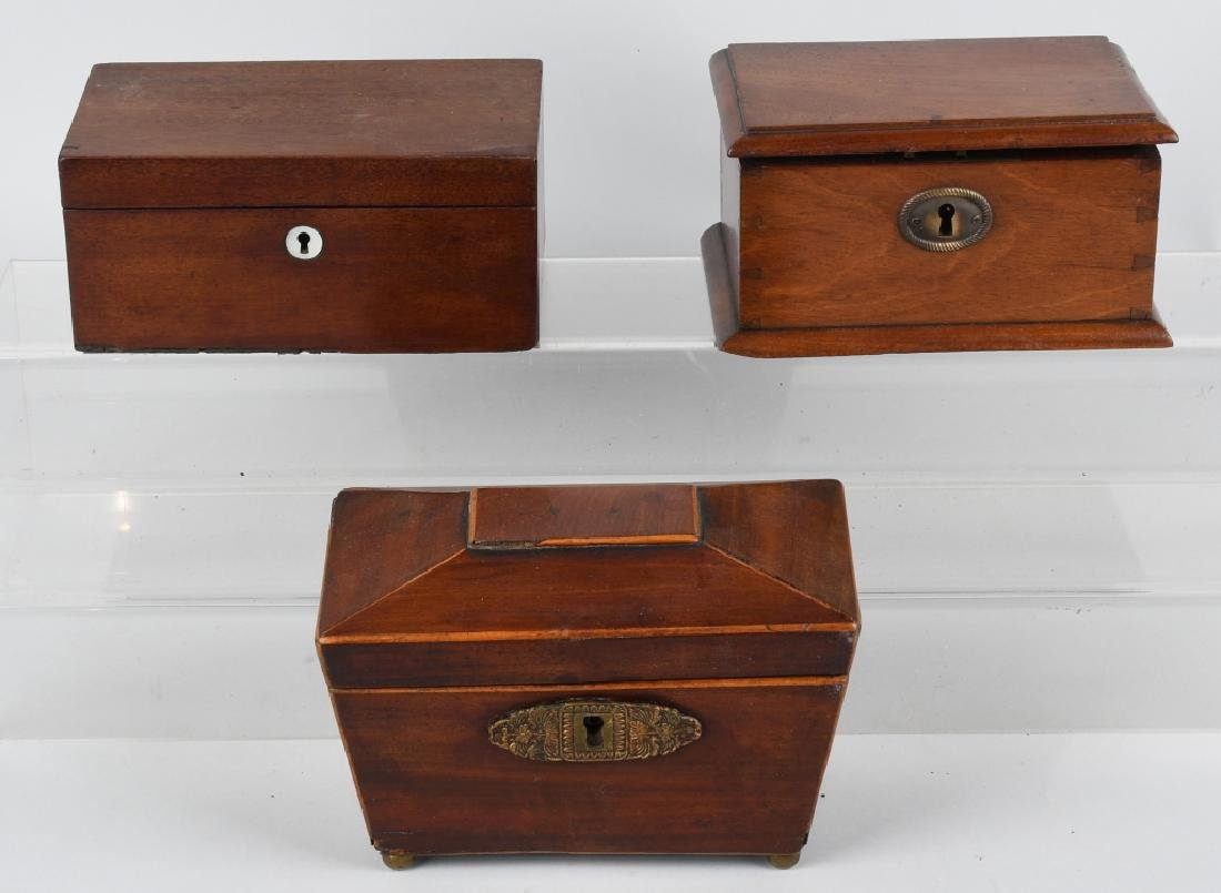3- EARLY WOOD TEA CADDYS