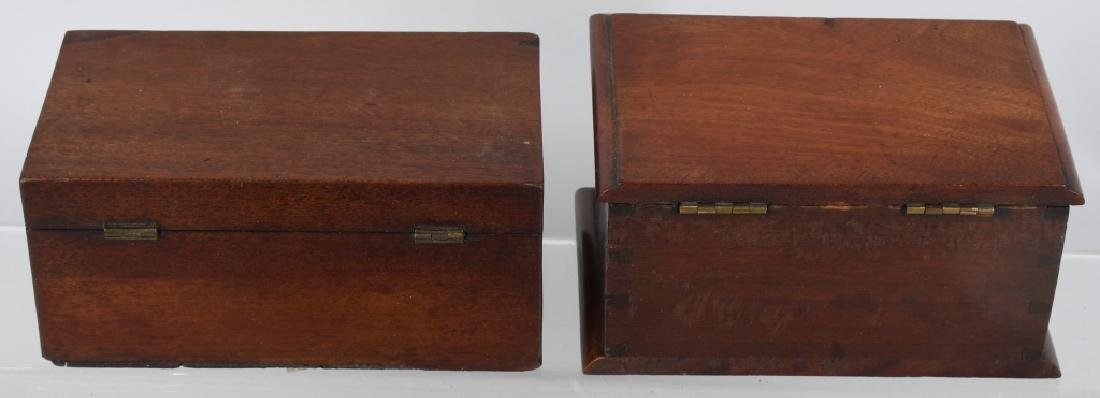3- EARLY WOOD TEA CADDYS - 3