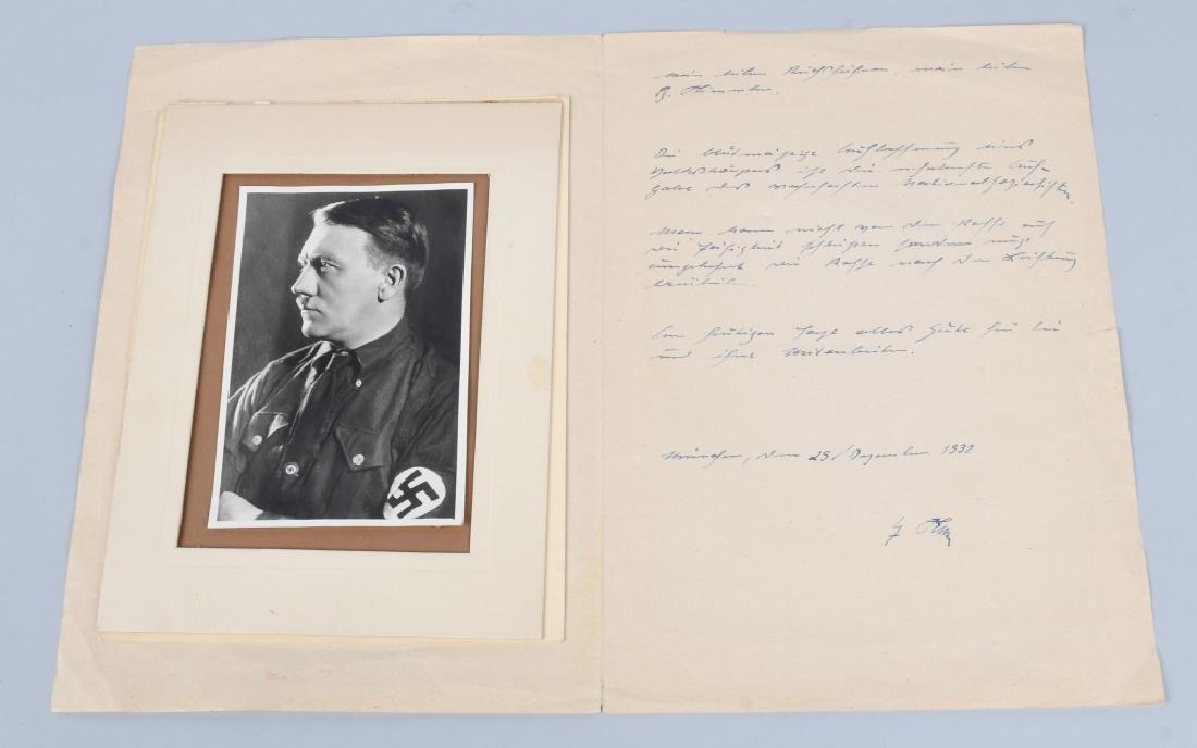 1932 ADOLF HITLER PHOTO CARD & SIGNED LETTER