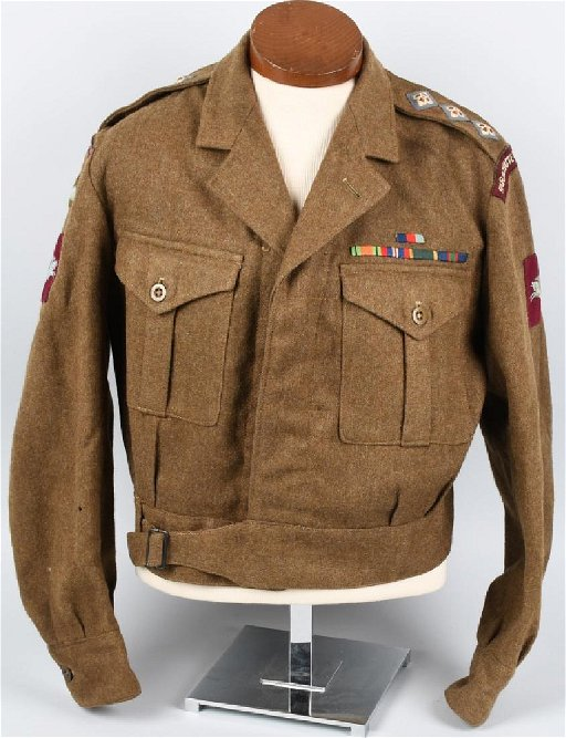 WWII BRITISH AIRBORNE UNIFORM, NAMED TO OFFICER