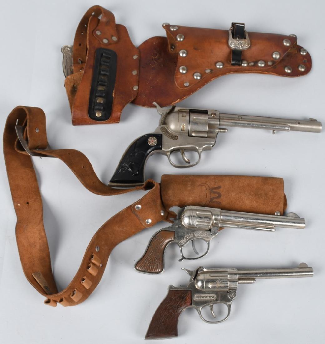 3- VINTAGE CAP GUNS & HOLSTERS
