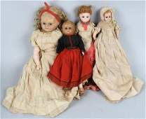 4 WAX  COMPOSITION DOLLS w GLASS EYES