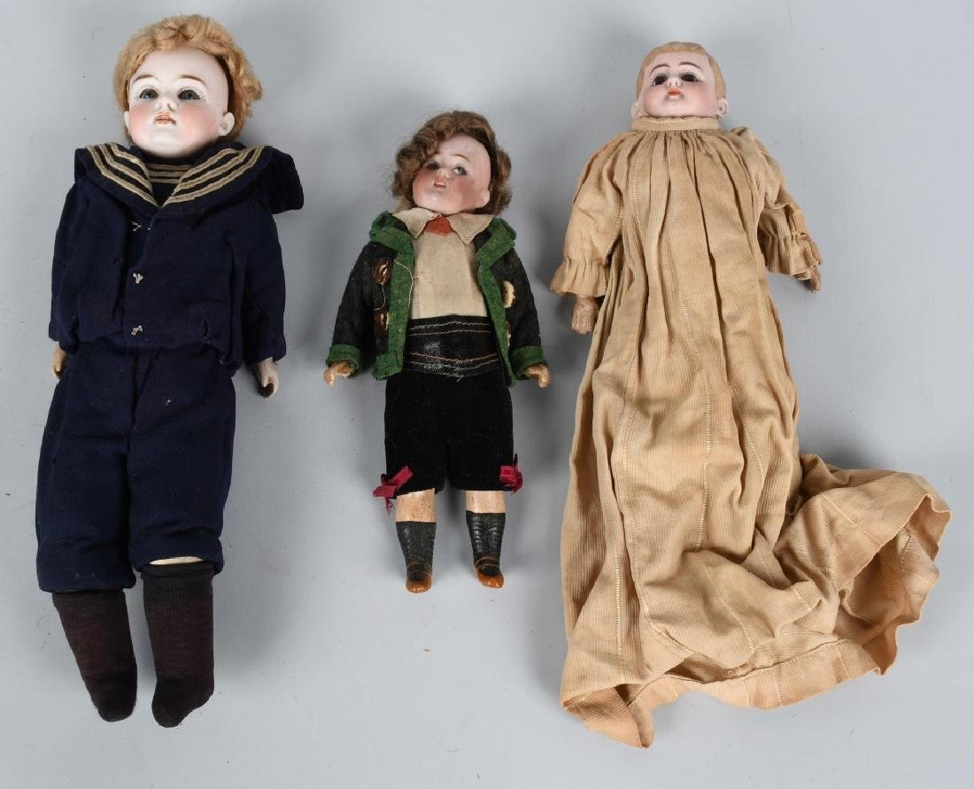 3-GERMAN BISQUE DOLLS