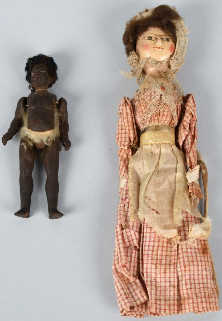 2-EARLY WOODEN DOLLS