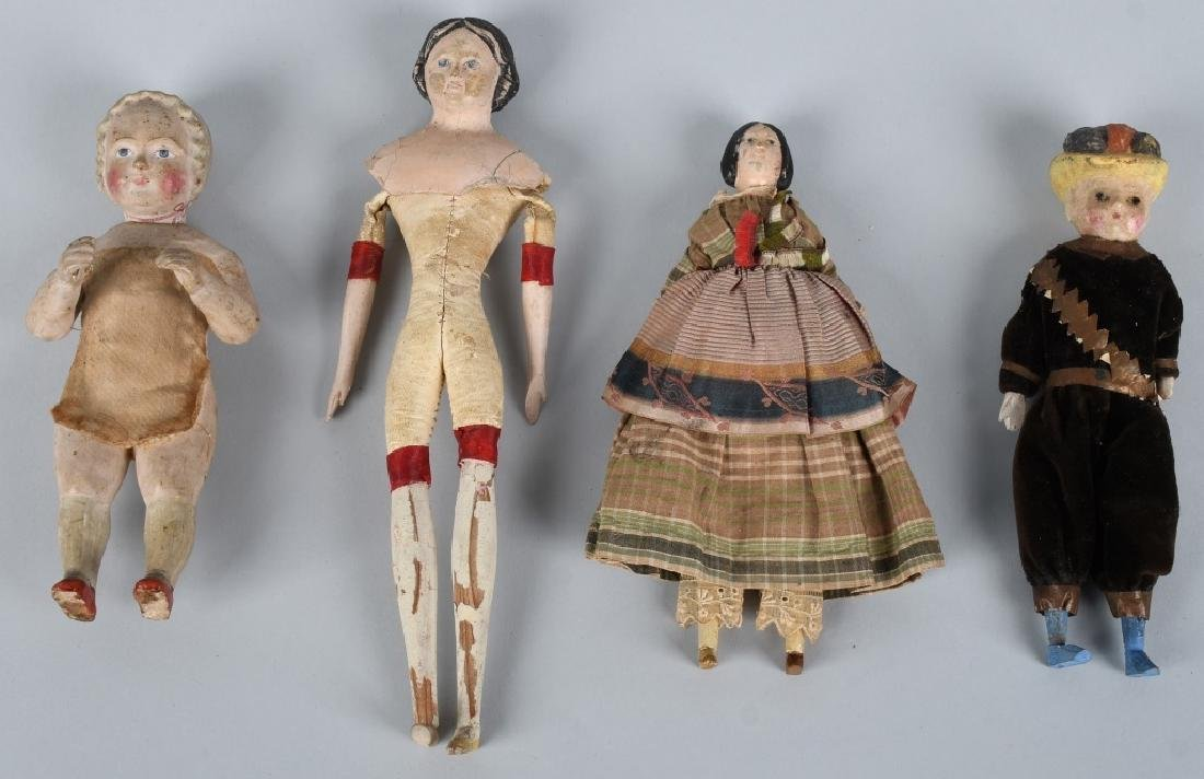 4-EARLY WOOD & COMPOSITION DOLLS