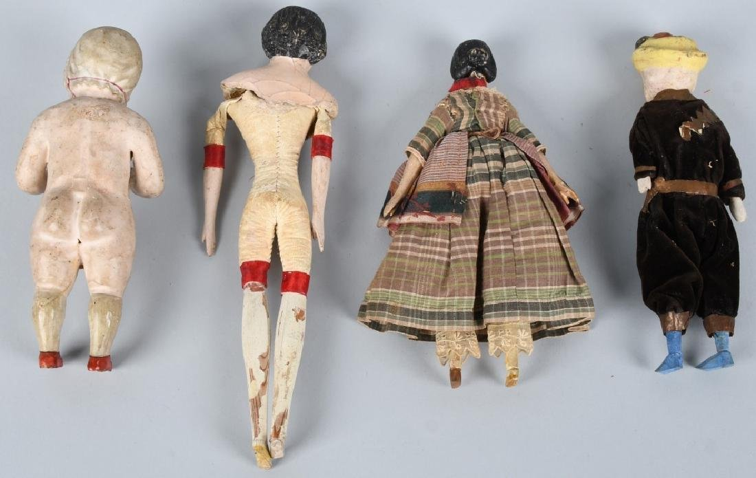 4-EARLY WOOD & COMPOSITION DOLLS - 6