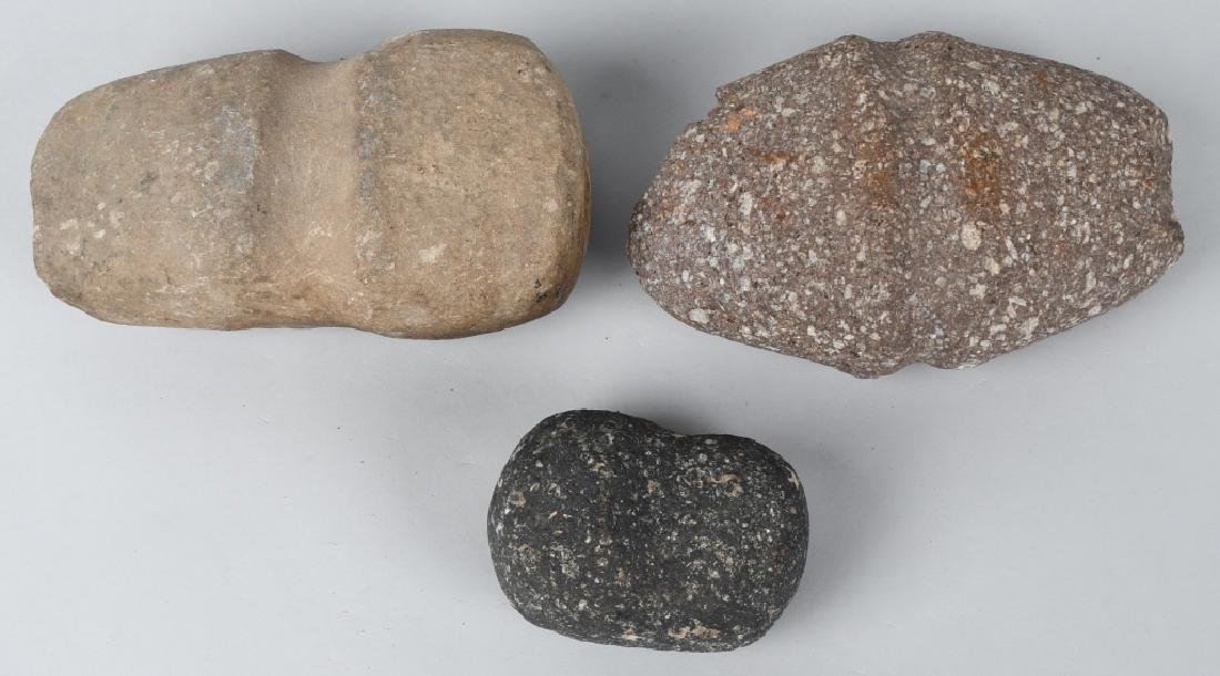 3-EARLY NATIVE AMERICAN GROOVED AXES