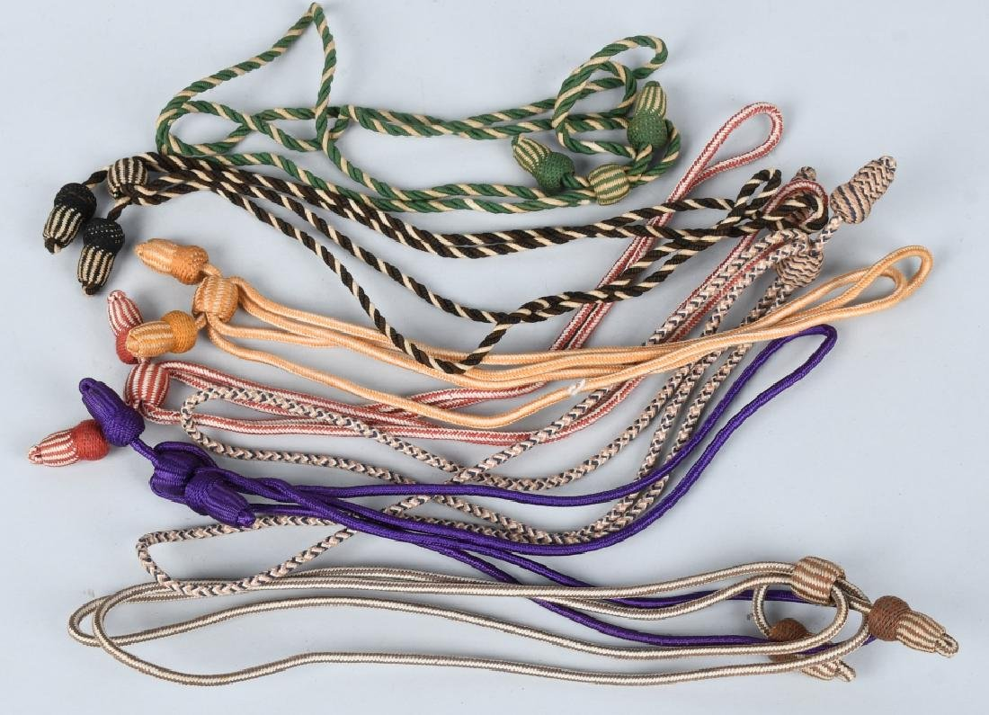WWI US COLLECTION OF 7 COLORED HAT CORDS