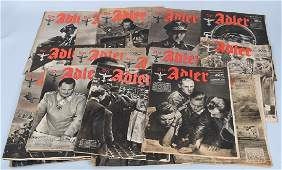WWII NAZI GERMAN LOT OF 38 ISSUES DER ADLER PAPER