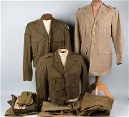 WWII US LOT OF WWII UNIFORMS AND HATS