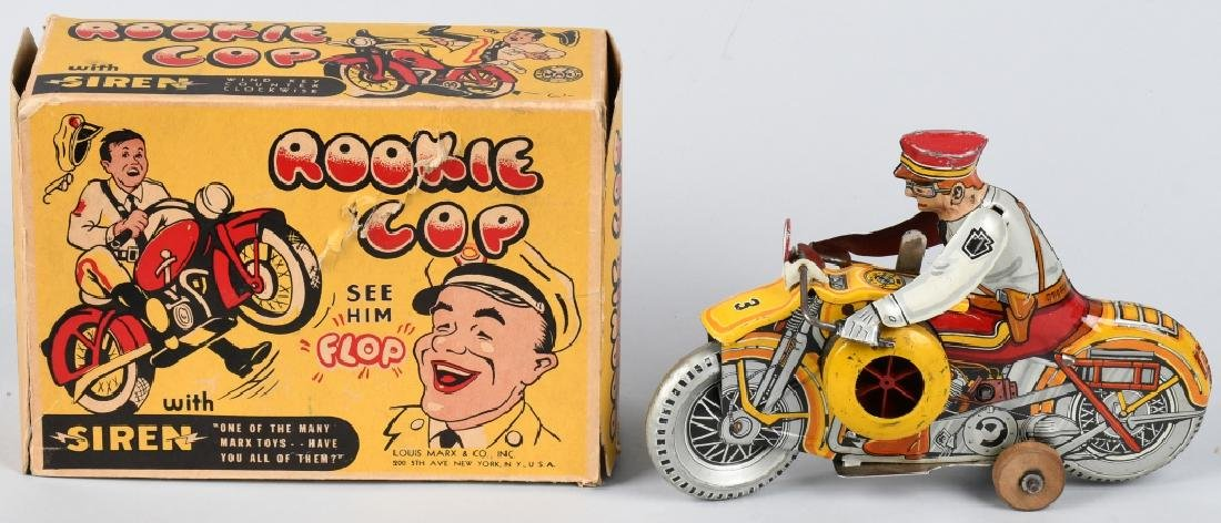 MARX Tin Windup ROOKIE COP MOTORCYCLE w/ BOX