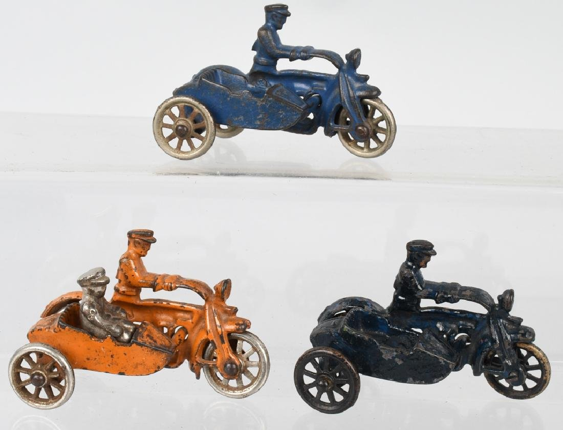 3 HUBLEY cast iron COP MOTORCYCLES & SIDECARS