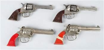 2- PAIR of CAST IRON KILGORE & BIG HORN CAP GUNS