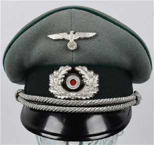 536f3724e52 WWII NAZI GERMAN ARMY JÄGER OFFICER S VISOR CAP