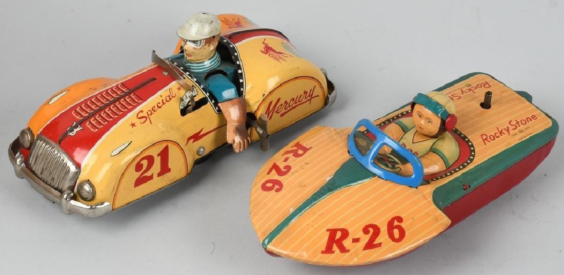 JAPAN Tin Toy RACE CAR & BOAT