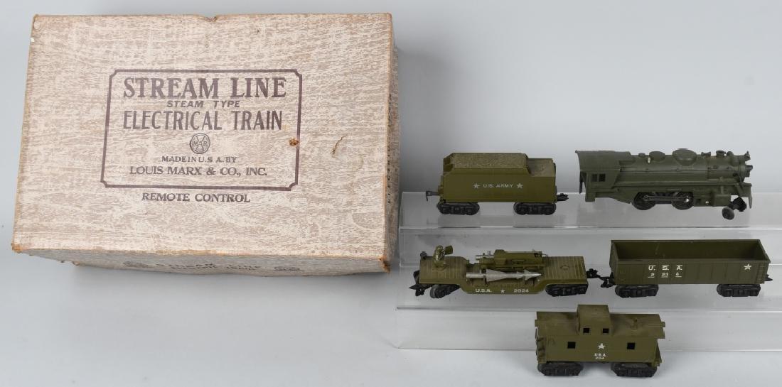 MARX No. 52975 STREAMLINE ARMY TRAIN SET w/ BOX