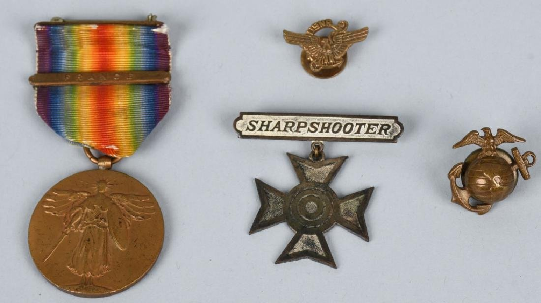 WWI US MARINE CORPS MEDAL BADGE EGA AND PIN GROUP