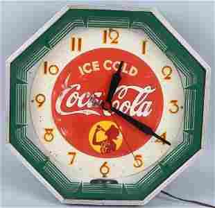 930s COCA COLA Octagon NEON CLOCK