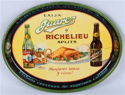 JUAREZ RICHELIEN BEER ADVERTISING SERVING TRAY
