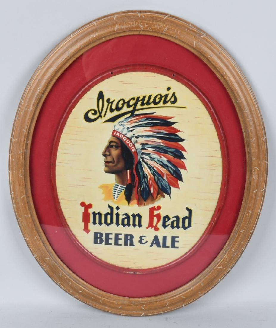IROQUOIS INDIAN HEAD BEER & ALE OVAL TIN SIGN