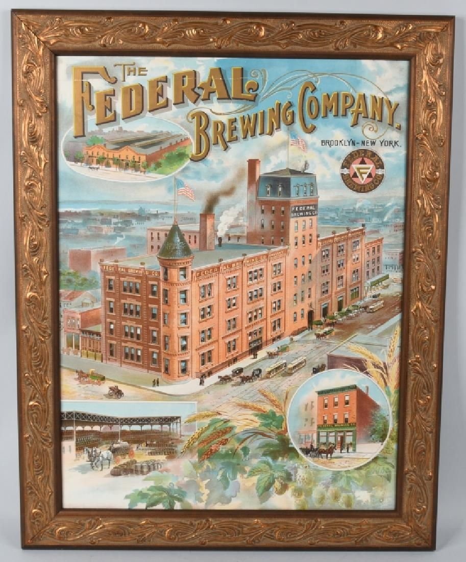 1902-07 FEDERAL BREWING COMPANY LITHOGRAPH SIGN