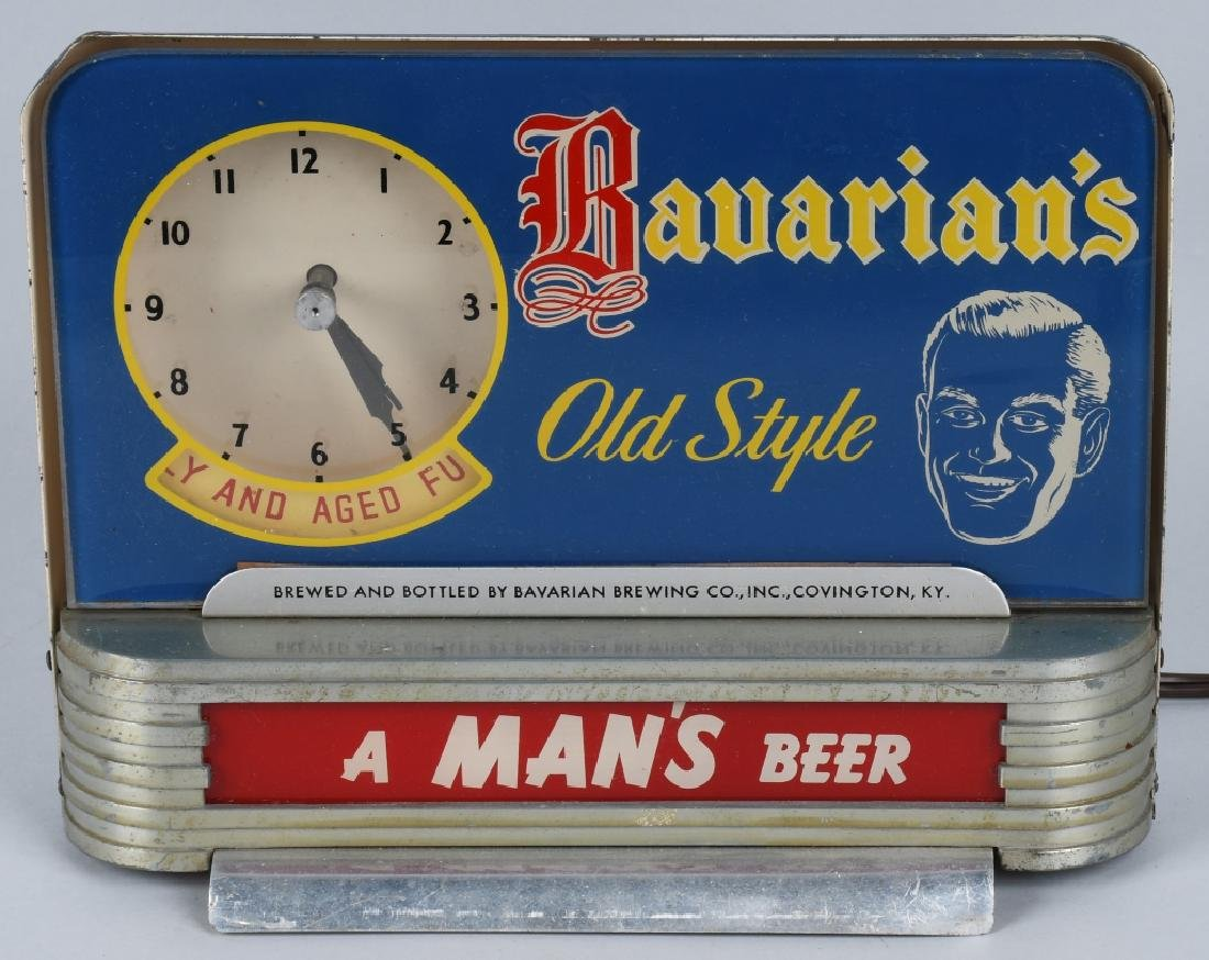 BAVARIAN'S OLD STYLE BEER LIGHTUP CLOCK