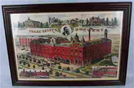 ISAAC LEISY'S BREWERY CHROMOLITHOGRAPH SIGN