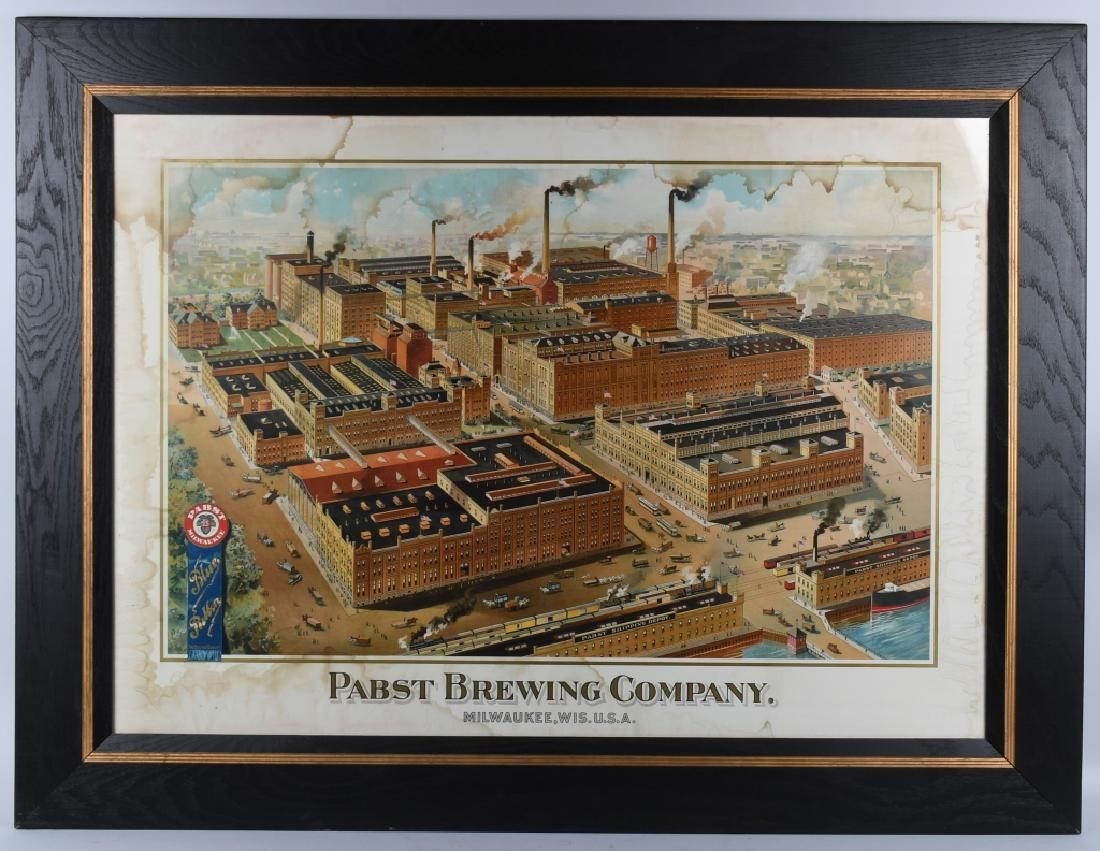 PABST BREWING COMPANY CHROMOLITHOGRAPH SIGN