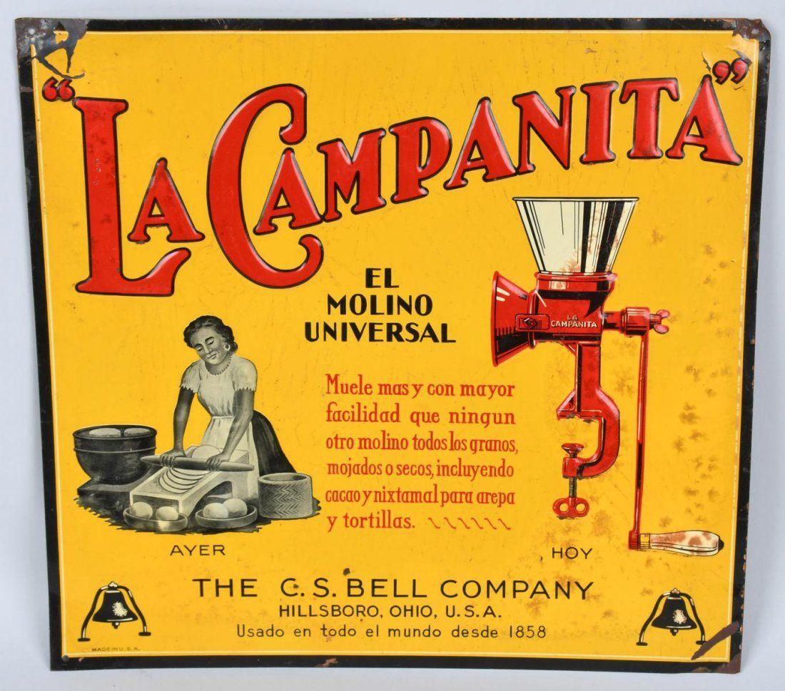 "La CAMPANITA \""UNIVERSAL GRINDER\"" TIN SIGN"