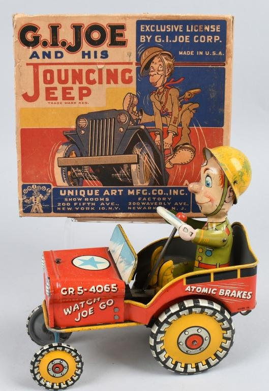 UNIQUE ART Tin Windup GI JOE JEEP w/ BOX