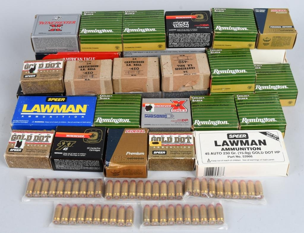 45 ACP BOXED AND LOOSE PISTOL AMMUNITION 800 RDS