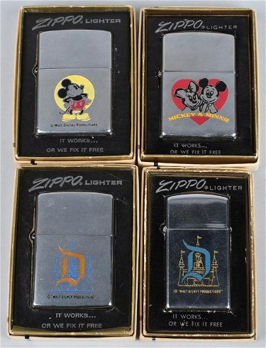 4- ZIPPO DISNEY WORLD & MICKEY MOUSE LIGHTERS