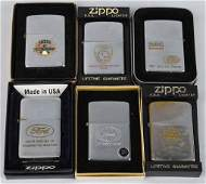 6 ZIPPO FORD AUTOMOTIVE LIGHTERS