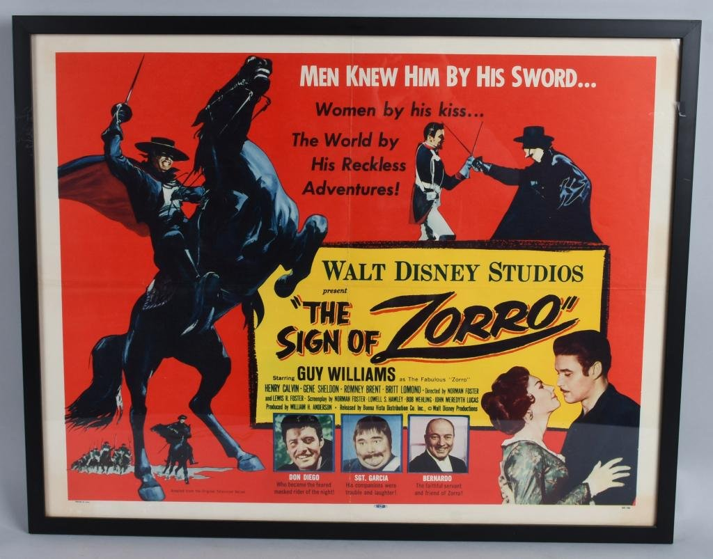 1960 THE SIGN OF ZORRO, HALF-SHEET MOVIE POSTER.
