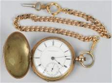 ELGIN POCKET KEY WIND WATCH, 18-S, 15-J, 1872