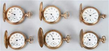 6 ANTIQUE POCKET WATCHES w HUNTER CASES