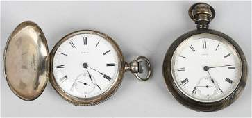 2 ANTIQUE WALTHAM POCKET WATCHES 18S