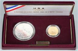 1988 OLYMPICS $5 GOLD & $1 SILVER COIN SET