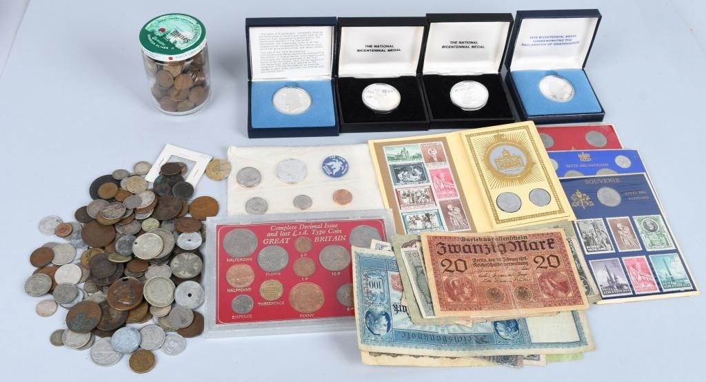 FOREIGN COINS, CURRENCY, & MORE