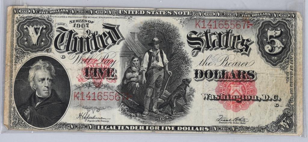 1907 UNITED STATES $5 LARGE SIZE NOTE