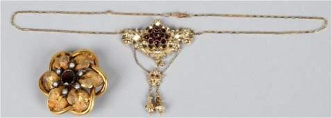 VICTORIAN GOLD  GARNET NECKLADE  PENDANT