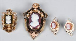 VICTORIAN GOLD CAMEO LOT