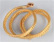 15k GOLD SNAKE WRAP BRACELET