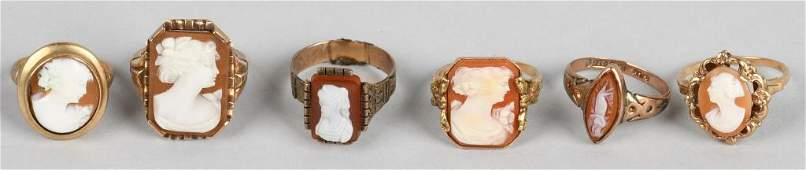 5- 10k GOLD ANTIQUE CARVED SHELL CAMEO RINGS