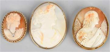 3-14k GOLD ANTIQUE CARVED SHELL CAMEOS