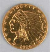 1926 US INDIAN HEAD GOLD $2.50, UNGRADED