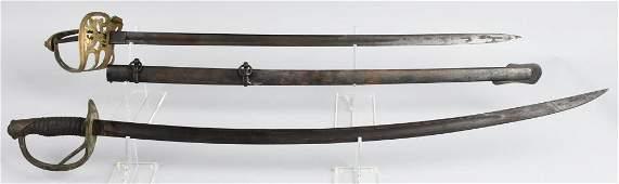 2 US CIVIL WAR SWORDS 1860 CAV & NON REGULATION