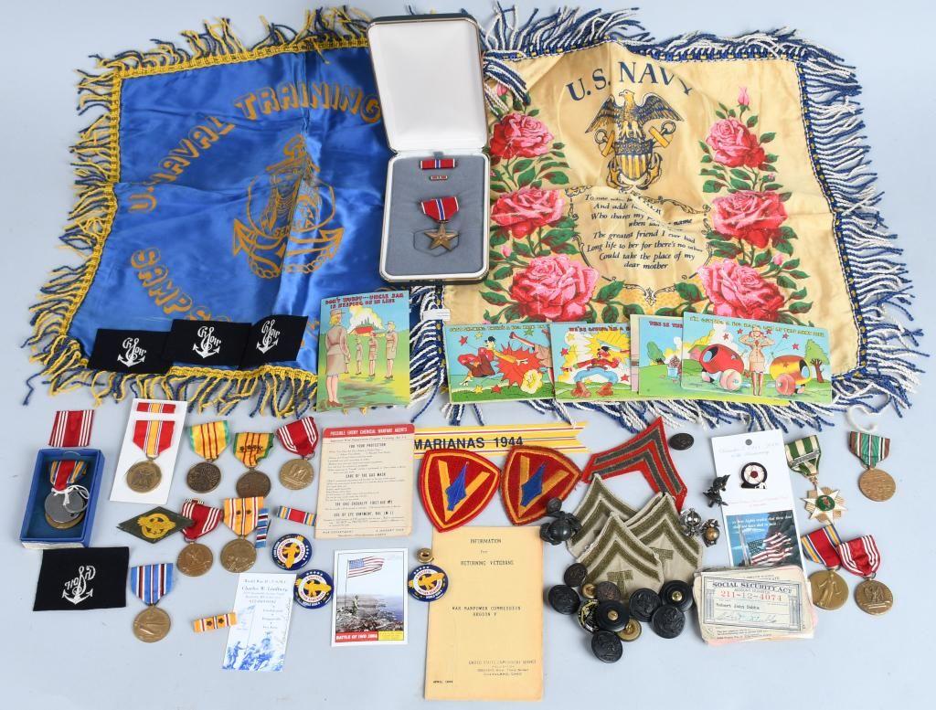 WWII US USMC ARMY AND NAVY INSIGNIA AND EPHEMERA