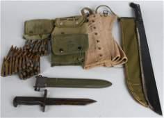WWII US M1 GARAND BAYONET MACHETE POUCH  MORE
